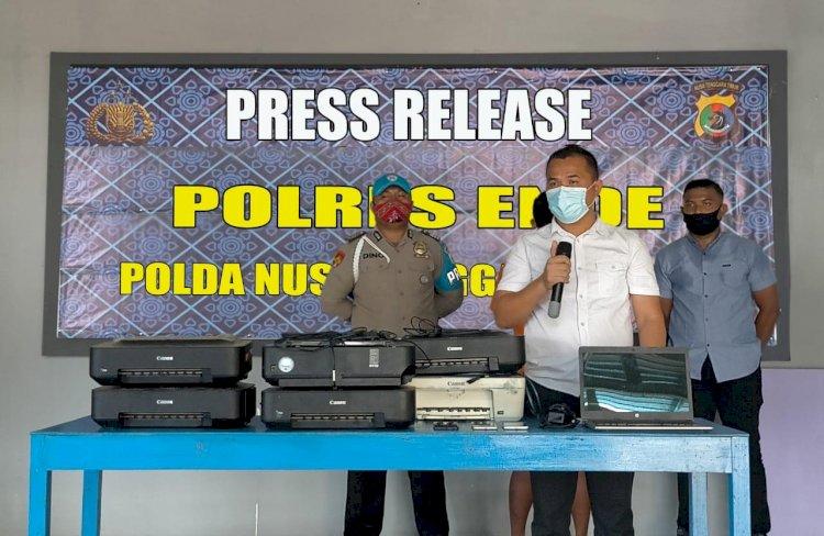 Ungkap Kasus Pencurian Barang Elektronik, Satreskrim Polres Ende Gelar Press Release