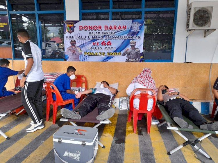 Sambut HUT Lalulintas Bhayangkara Ke-66, Satlantas Polres Ende Gelar Bhakti Sosial Donor Darah